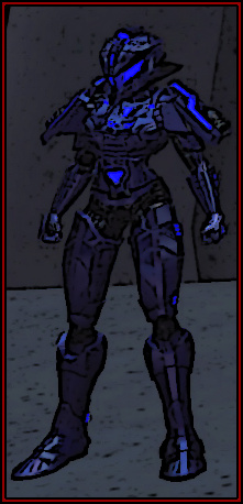 A fully armored woman in blue power armor stands around, doing nothing in particular.