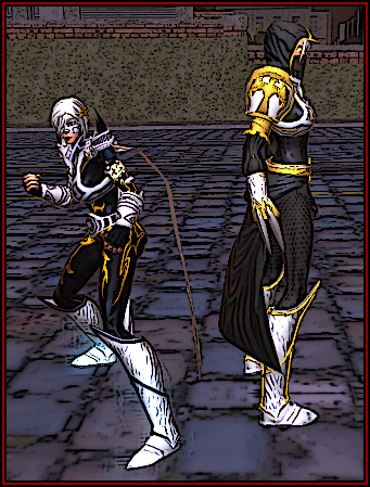 Two women clad in similar white armor and black tights, stand back to back, ready for combat.