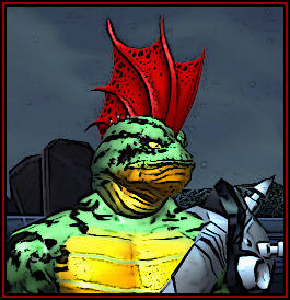 A humanoid toad with a spiked armored shoulder pad and a red fin on his head. His skin is green with black stripes.