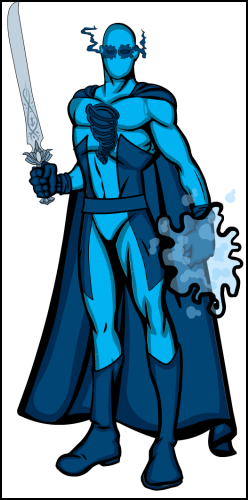 Sword using, blue spandex wearing weirdo. Has cape death trap accessory.