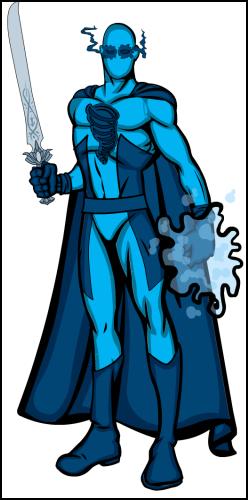 Sword using, blue spandex wearing weirdo. Has cape death trap accessory.