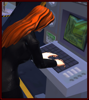Sterga in her lab coat types away at a console.